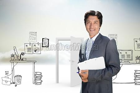 composite image of confident estate agent