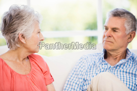 senior couple having argument on the