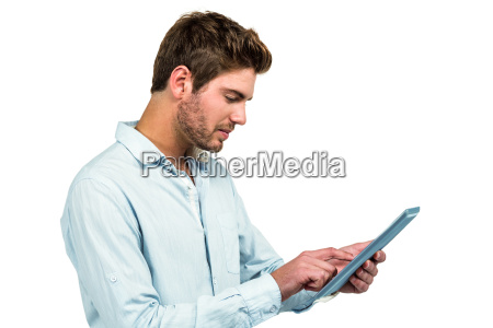 handsome man using tablet