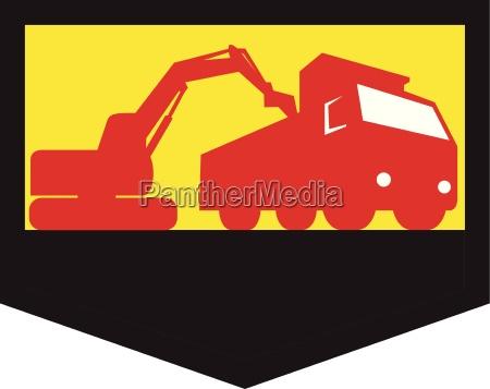 mechanische digger loading dump truck shield