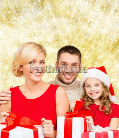 happy family with gift boxes