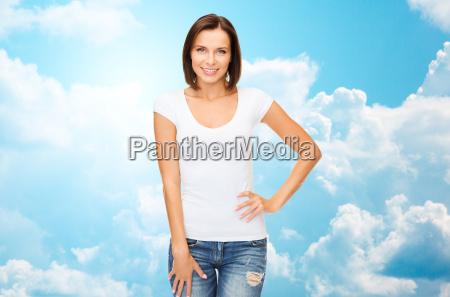 happy woman in blank white t