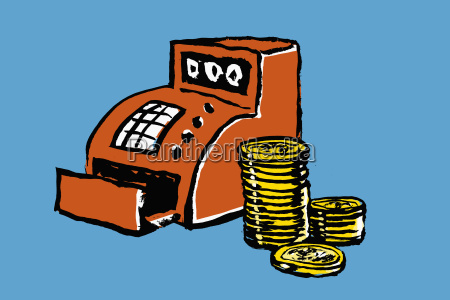 illustration of cash register and stacked