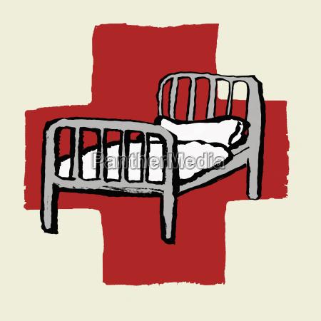 abbildung des krankenhausbettes gegen das internationale