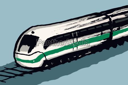 illustration of train against blue background