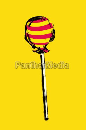 illustration of lollipop on yellow background