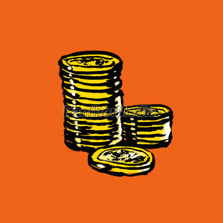 illustration of stacked coins on orange