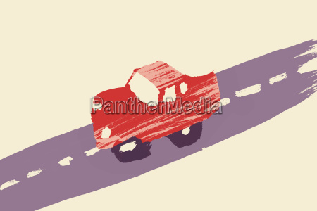 illustration of red car on street