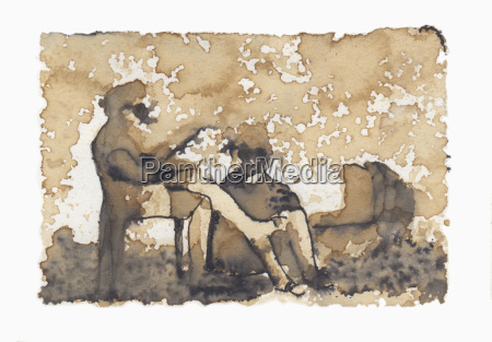 illustrative image of two people resting