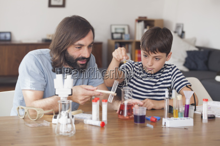 father and son working on science