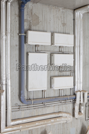 fuse boxes on wall in workshop