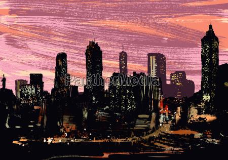 illustrative image of illuminated cityscape at
