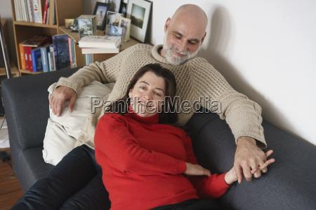 high angle view of mature couple