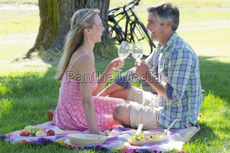 couple drinking wine sitting on picnic