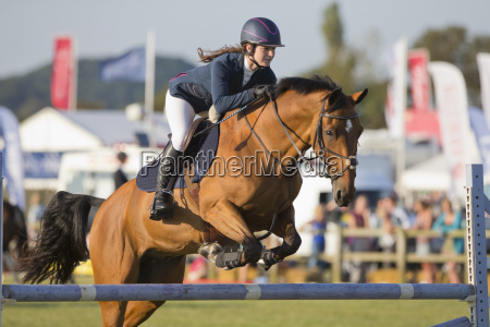 female showjumper clearing jump on horse