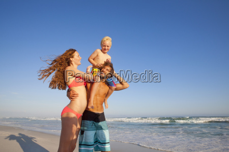 happy couple with son on fathers