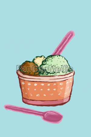 illustration of ice cream cup against