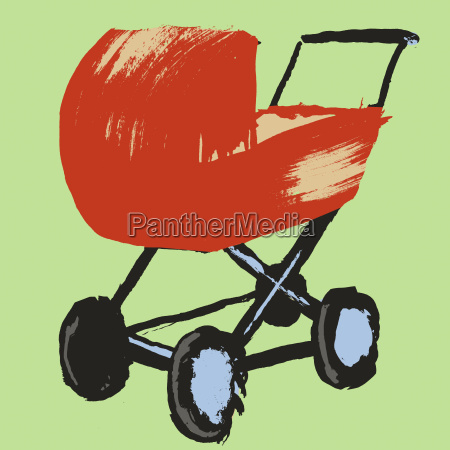 illustration of baby carriage against green