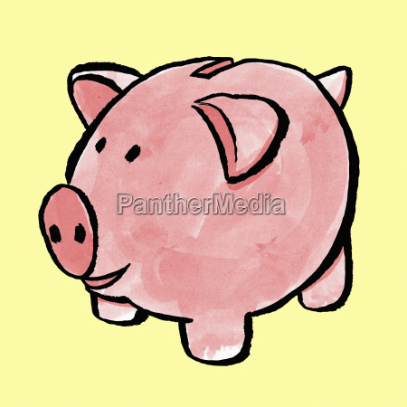illustration of piggy bank against yellow