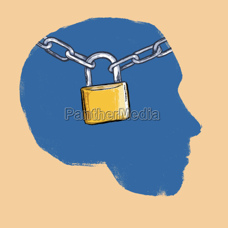 illustration of padlock with chains human