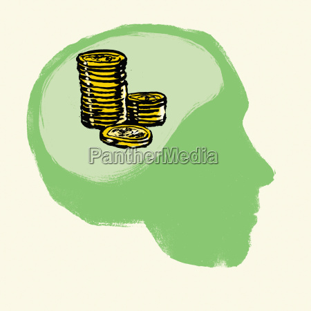 illustration of stacked coins in human