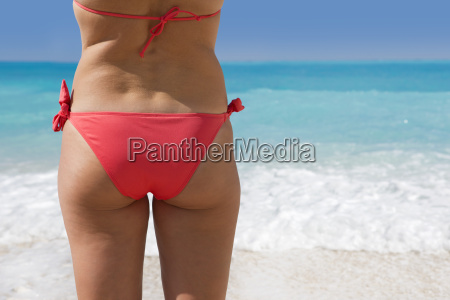 rear view of woman wearing bikini