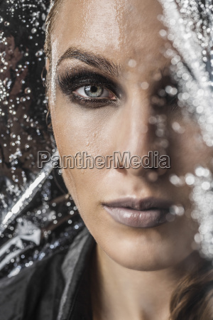 portrait of beautiful woman in plastic