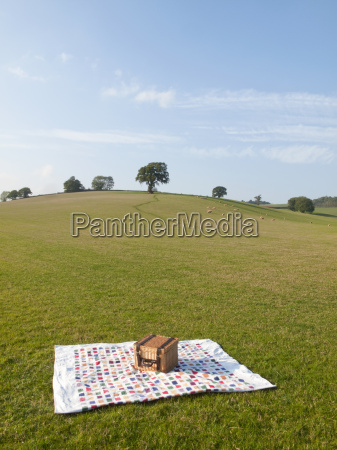 picnic basket and blanket in a