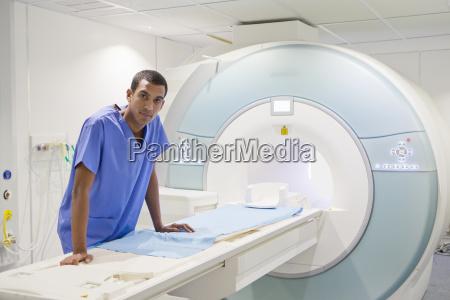 portrait confident technician nurse leaning on