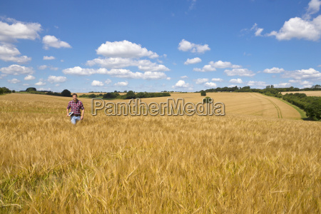 farmer walking in sunny rural barley