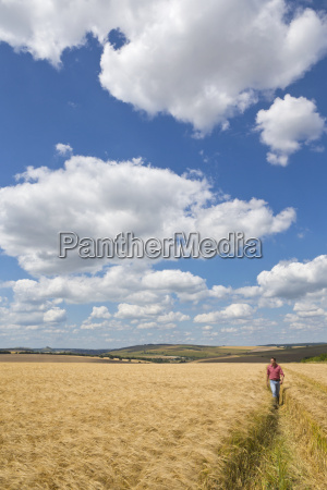farmer walking through sunny rural barley