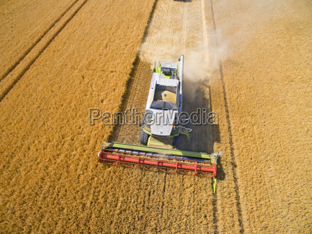 aerial view of combine harvester in