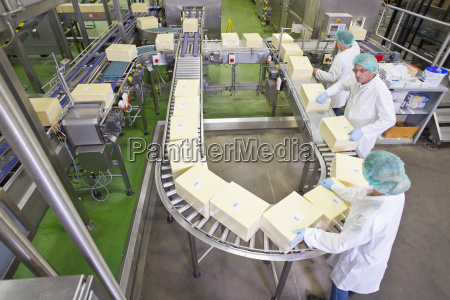 high angle view quality control workers