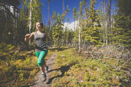 trail running in bowron lake provincial