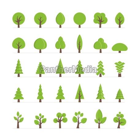 vector verschiedene baeume buesche gras und
