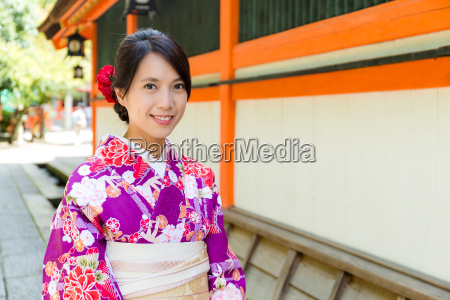 young japanese woman with kimono