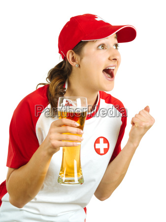 cheering swiss sports fan
