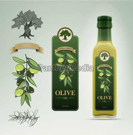 glass oil olive bottle and label
