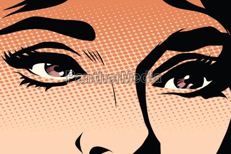 brown eyes retro woman pop art
