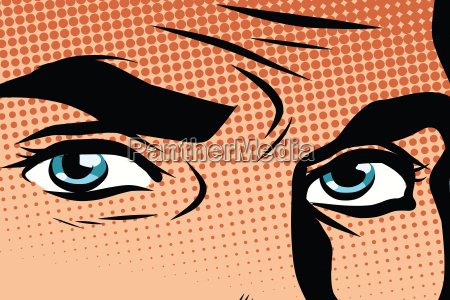 retro male blue eyes pop art