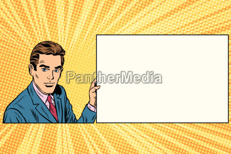 pop art businessman with frame for