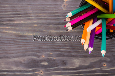 color pencils in black office bin