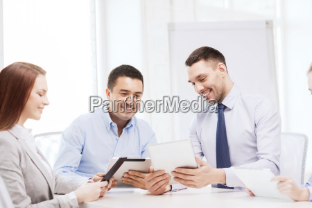 business team working with tablet pc