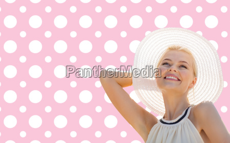 beautiful smiling woman in white summer