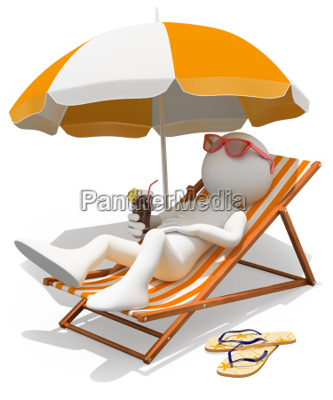 3d white people sunbathing on a
