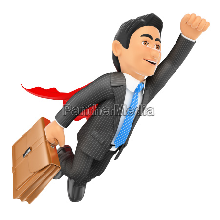 3d super businessman flying with cape