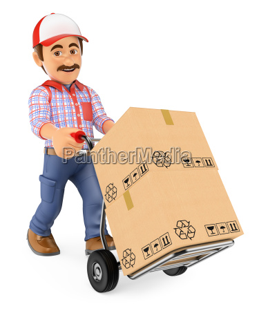 3d courier delivery man pushing a