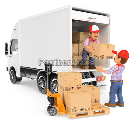 3d workers unloading boxes from a