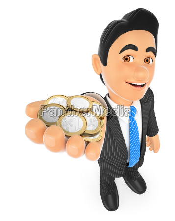 3d businessman with euro coins