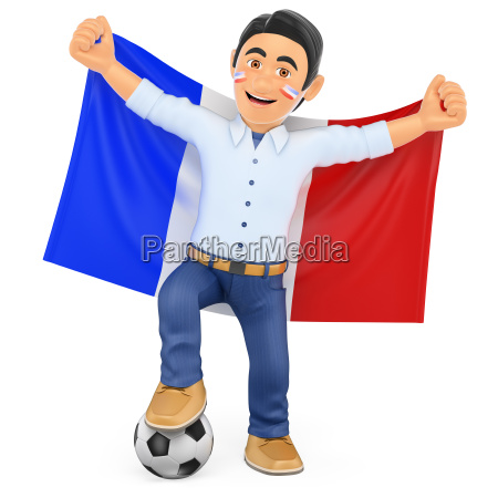 3d football fan with the flag